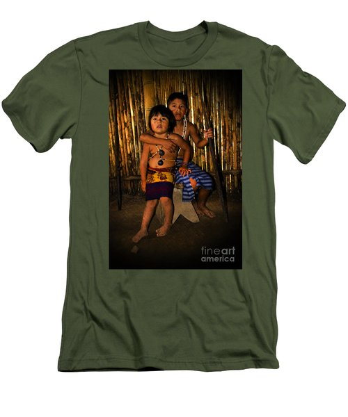 Men's T-Shirt (Slim Fit) featuring the photograph Sucua Kids 901 by Al Bourassa