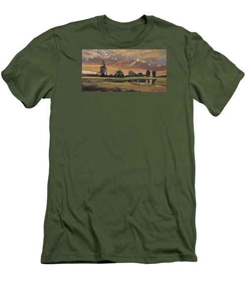 Men's T-Shirt (Slim Fit) featuring the painting Summer Evening In The Polder by Nop Briex