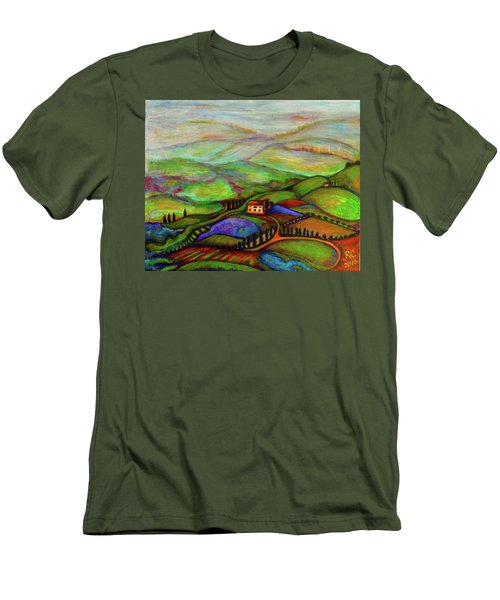 Men's T-Shirt (Slim Fit) featuring the painting Summer Hills by Rae Chichilnitsky