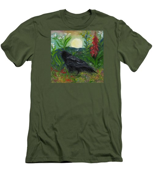 Summer Moon Raven Men's T-Shirt (Slim Fit) by FT McKinstry