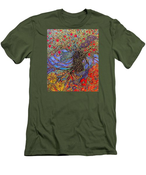 Men's T-Shirt (Slim Fit) featuring the painting Enchanted Garden by Rae Chichilnitsky
