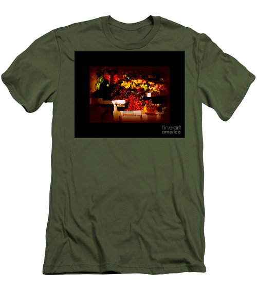 Men's T-Shirt (Slim Fit) featuring the photograph Sun On Fruit - Markets And Street Vendors Of New York City by Miriam Danar
