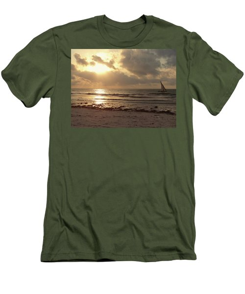Sun Rays On The Water With Wooden Dhow Men's T-Shirt (Athletic Fit)