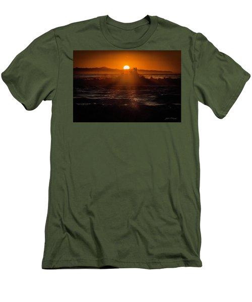 Men's T-Shirt (Slim Fit) featuring the photograph Sun Setting Behind Santa Cruz Island by John A Rodriguez