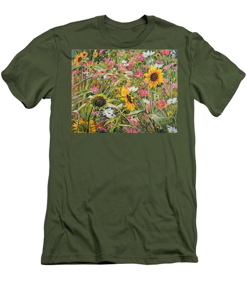 Men's T-Shirt (Slim Fit) featuring the painting Sunflower And Cosmos by Steve Spencer