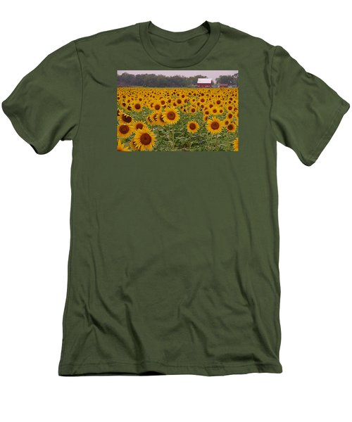 Sunflower Field One Men's T-Shirt (Slim Fit) by Karen McKenzie McAdoo