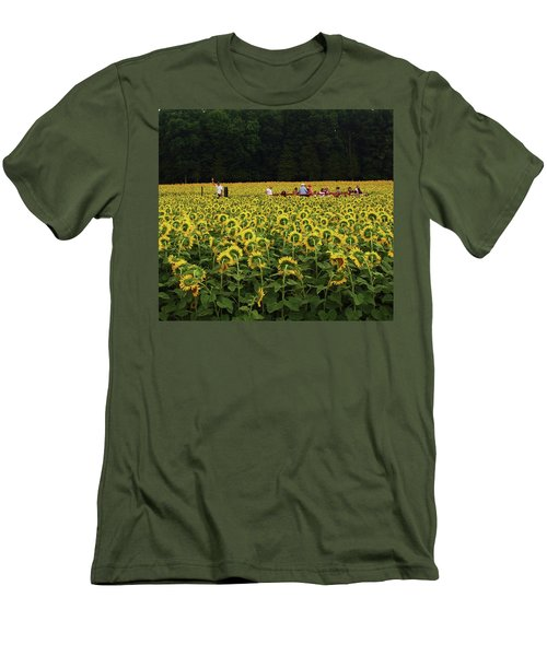 Men's T-Shirt (Slim Fit) featuring the photograph Sunflowers Everywhere by John Scates