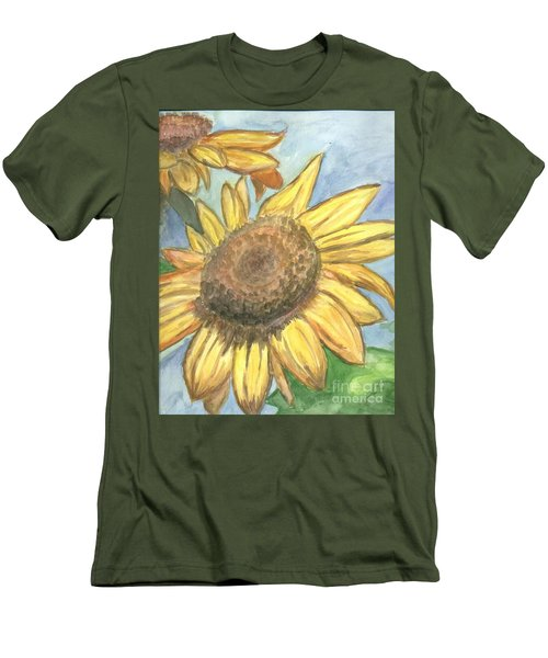 Men's T-Shirt (Slim Fit) featuring the painting Sunflowers by Jacqueline Athmann