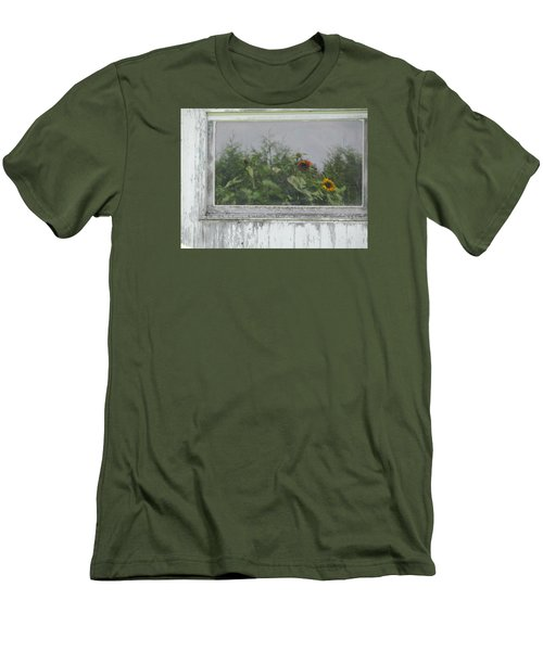 Sunflowers On Barn Men's T-Shirt (Slim Fit) by Tina M Wenger