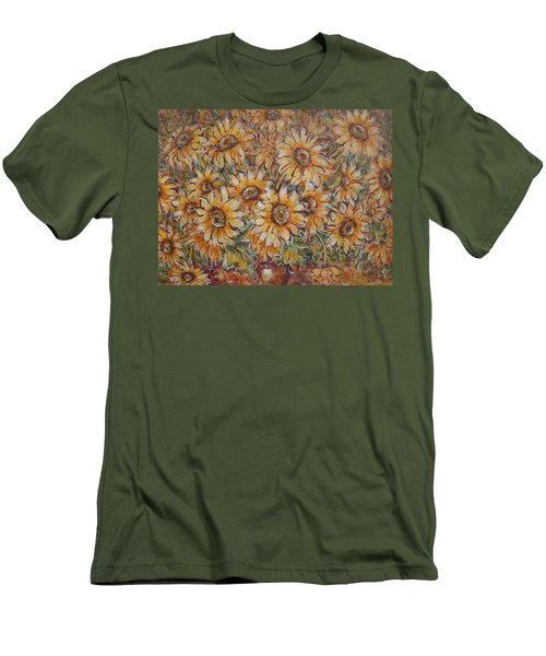 Men's T-Shirt (Slim Fit) featuring the painting Sunlight Bouquet. by Natalie Holland