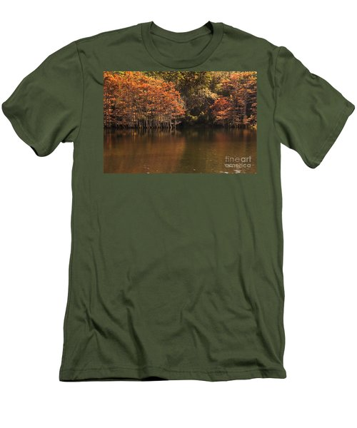 Men's T-Shirt (Slim Fit) featuring the photograph Sunlit Cypress Trees On Beaver's Bend by Tamyra Ayles