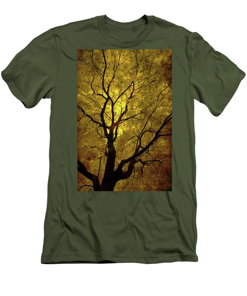 Men's T-Shirt (Slim Fit) featuring the painting Sunny Branches by Gray  Artus