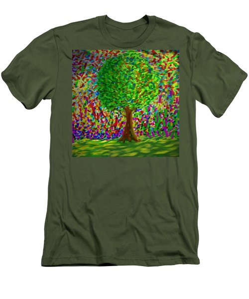 Men's T-Shirt (Slim Fit) featuring the painting Sunny Tree by Kevin Caudill