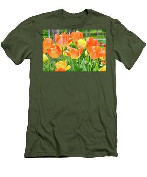 Men's T-Shirt (Slim Fit) featuring the photograph Sunny Tulips by David Lawson