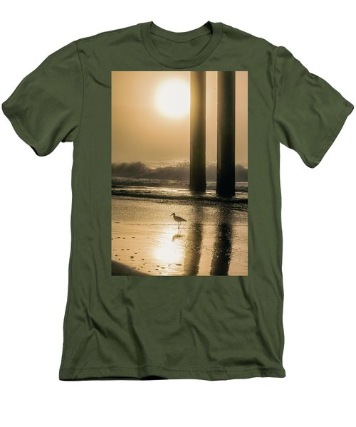 Men's T-Shirt (Slim Fit) featuring the photograph Sunrise Bird At Beach  by John McGraw