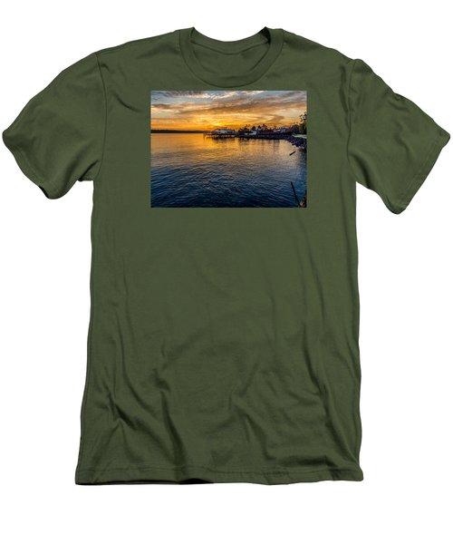 Men's T-Shirt (Slim Fit) featuring the photograph Sunrise Over Commencement Bay Tacoma, Wa by Rob Green