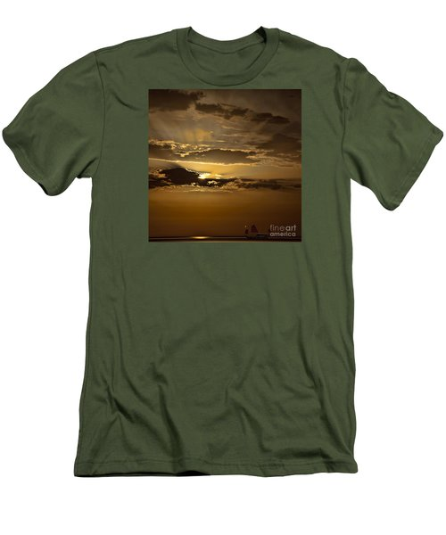 Men's T-Shirt (Slim Fit) featuring the photograph Sunset And Sanpan by Shirley Mangini