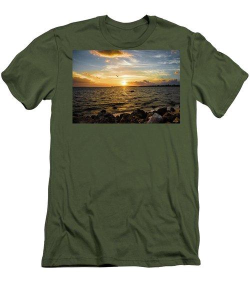 Sunset At Cedar Key Men's T-Shirt (Slim Fit) by Rebecca Hiatt