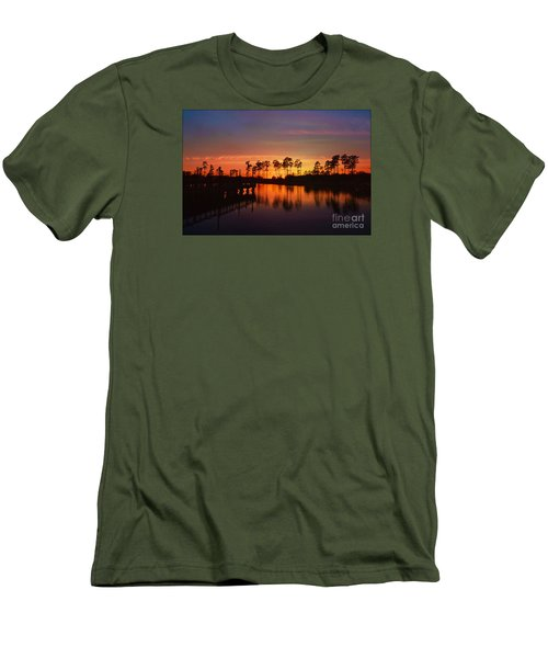 Sunset At Market Commons II Men's T-Shirt (Slim Fit) by Kathy Baccari