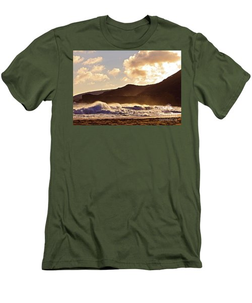 Sunset At Sandy Beach Men's T-Shirt (Slim Fit) by Kristine Merc