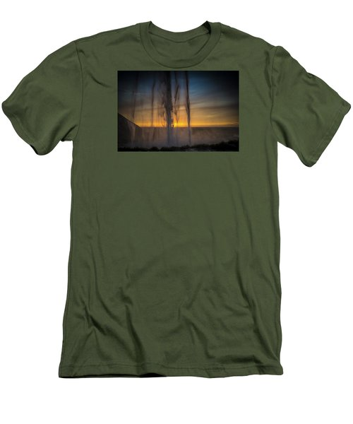 Sunset Behind The Waterfall Men's T-Shirt (Slim Fit) by Chris McKenna