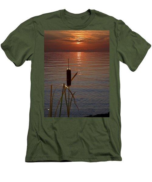 Sunset Cattail Men's T-Shirt (Slim Fit) by Judy Johnson