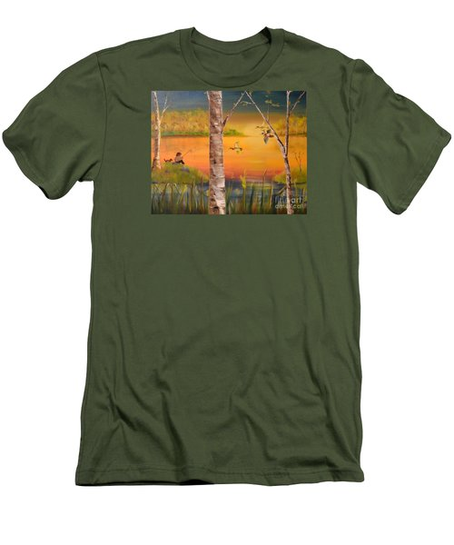 Men's T-Shirt (Slim Fit) featuring the painting Sunset Fishing by Denise Tomasura