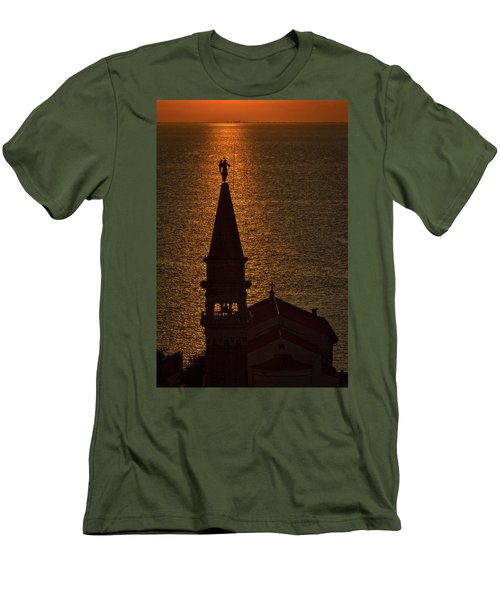 Men's T-Shirt (Athletic Fit) featuring the photograph Sunset From The Walls #2 - Piran Slovenia by Stuart Litoff