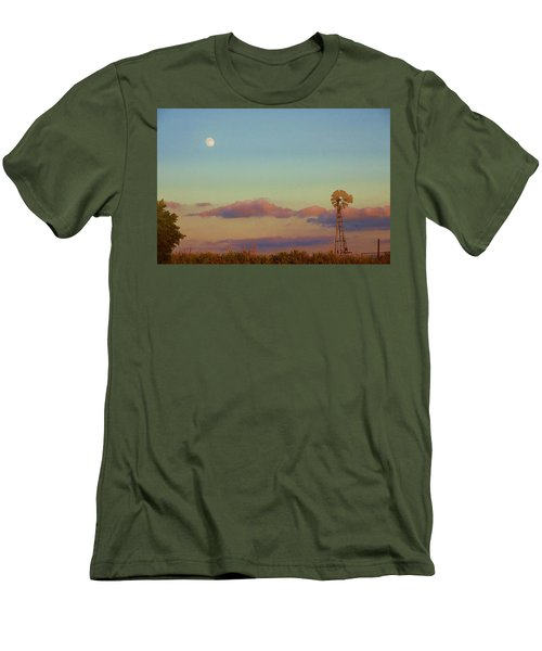 Sunset Moonrise With Windmill  Men's T-Shirt (Athletic Fit)
