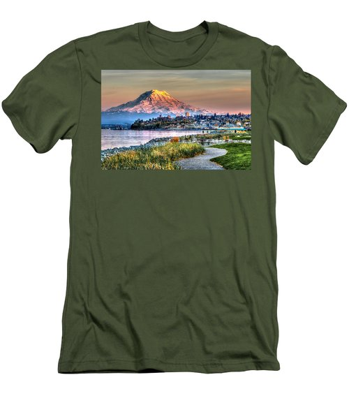 Sunset On Mt Rainier And Point Ruston Men's T-Shirt (Slim Fit) by Rob Green