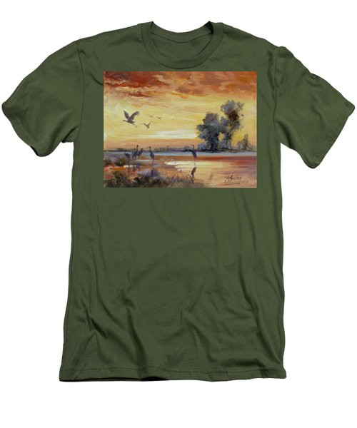 Sunset On The Marshes With Cranes Men's T-Shirt (Slim Fit) by Irek Szelag