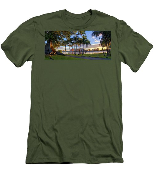 Men's T-Shirt (Slim Fit) featuring the photograph Sunset Over Downtown West Palm Beach From Palm Beach Island by Justin Kelefas