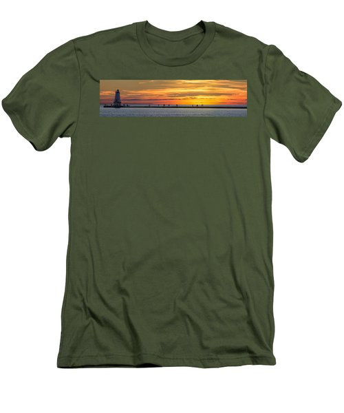 Men's T-Shirt (Slim Fit) featuring the photograph Sunset Over Ludington Panoramic by Adam Romanowicz