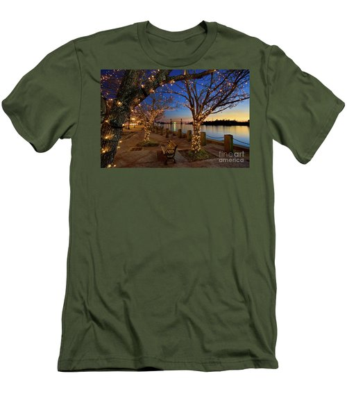 Sunset Over The Wilmington Waterfront In North Carolina, Usa Men's T-Shirt (Slim Fit) by Sam Antonio Photography