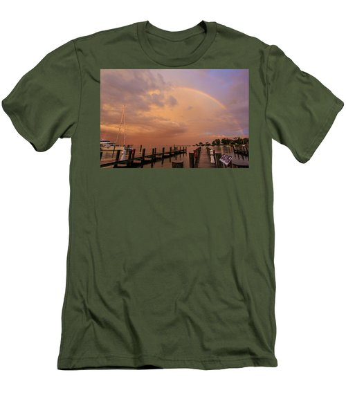 Sunset Rainbow Men's T-Shirt (Slim Fit) by Jennifer Casey