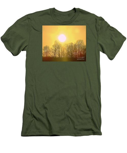 Men's T-Shirt (Slim Fit) featuring the photograph Sunset Yellow Orange by Shirley Moravec