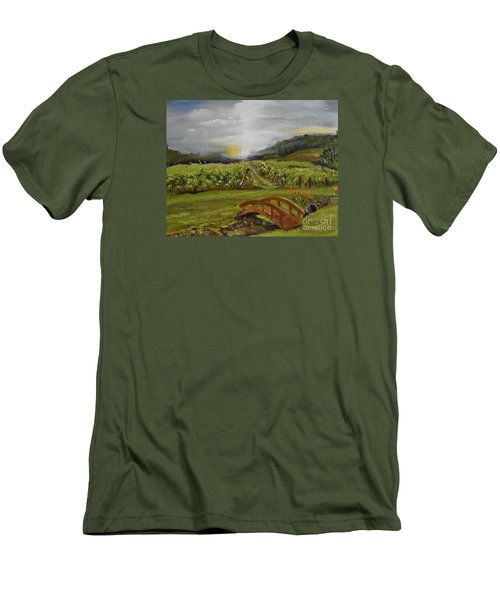 Men's T-Shirt (Athletic Fit) featuring the painting Sunshine Bridge At The Cartecay Vineyard - Ellijay Ga - Vintner's Choice by Jan Dappen