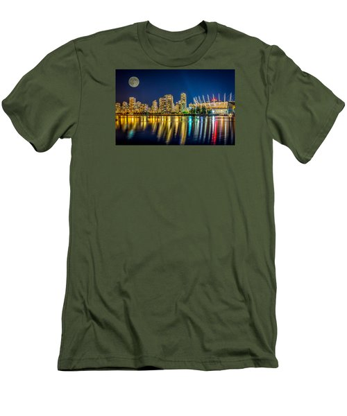 Super Moon Over Vancouver  Men's T-Shirt (Slim Fit) by Sabine Edrissi