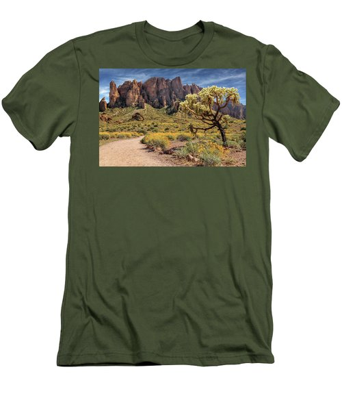 Superstition Mountain Cholla Men's T-Shirt (Slim Fit) by James Eddy