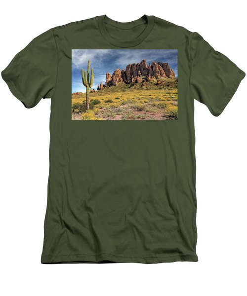 Men's T-Shirt (Athletic Fit) featuring the photograph Superstition Mountains Saguaro by James Eddy