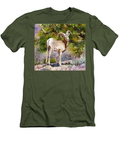 Men's T-Shirt (Slim Fit) featuring the painting Surprised On The Trail by Anne Gifford