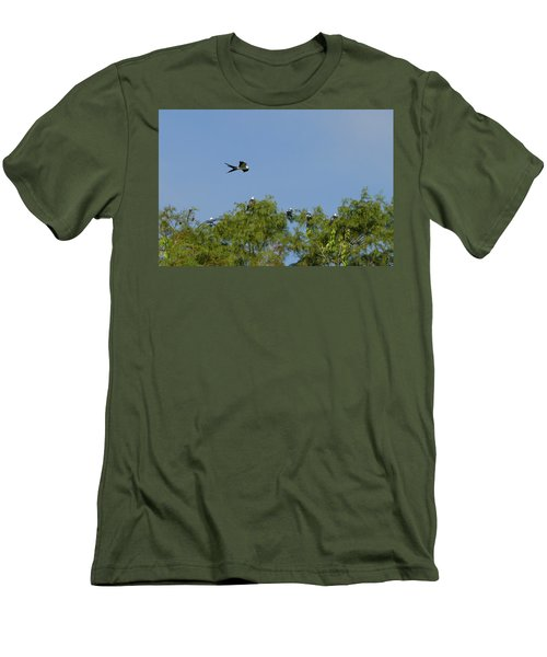 Swallow-tailed Kite Flyover Men's T-Shirt (Slim Fit) by Paul Rebmann