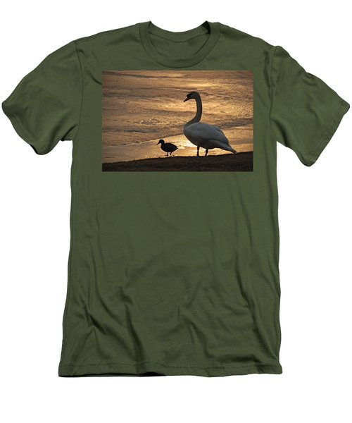 Men's T-Shirt (Slim Fit) featuring the photograph Swan And Baby At Sunset by Richard Bryce and Family