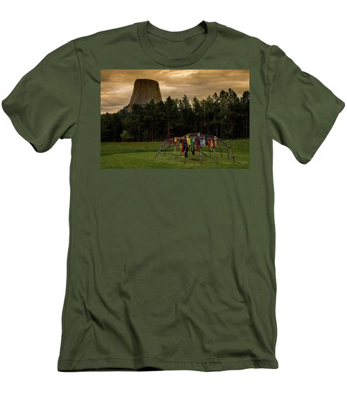 Men's T-Shirt (Athletic Fit) featuring the photograph Sweat Lodge At Devil's Tower by Gary Lengyel