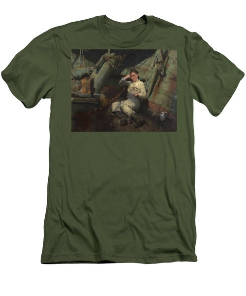 Men's T-Shirt (Slim Fit) featuring the painting Taking A Spell  by Henry Scott Tuke