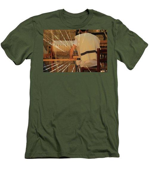 Jewish Prayer Shawl Weaving In Tzfat Men's T-Shirt (Slim Fit) by Yoel Koskas