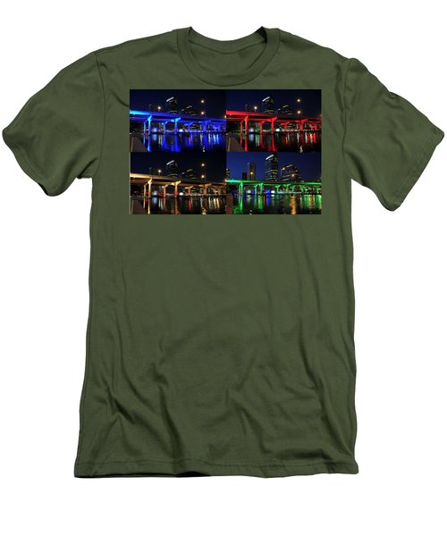 Men's T-Shirt (Slim Fit) featuring the photograph Tampa's Colorful Bridges by David Lee Thompson