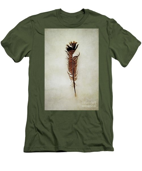 Men's T-Shirt (Slim Fit) featuring the photograph Tattered Turkey Feather by Stephanie Frey