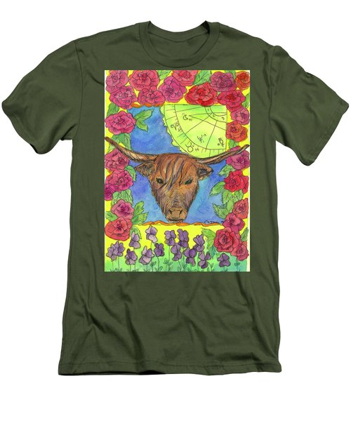 Men's T-Shirt (Slim Fit) featuring the painting Taurus by Cathie Richardson
