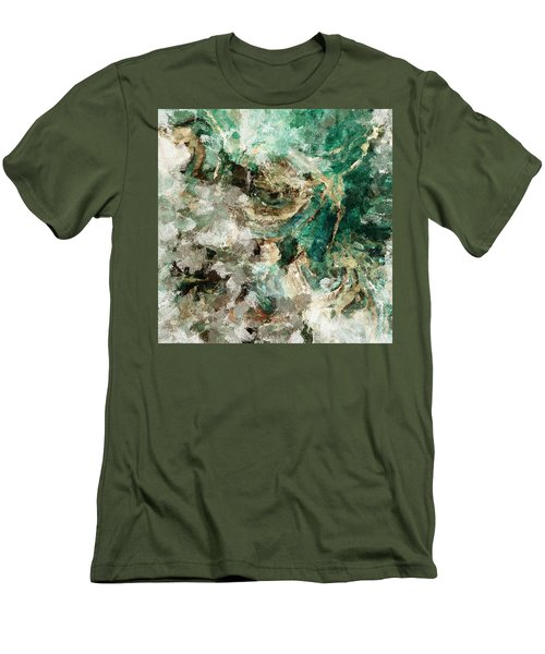 Men's T-Shirt (Slim Fit) featuring the painting Teal And Cream Abstract Painting by Ayse Deniz